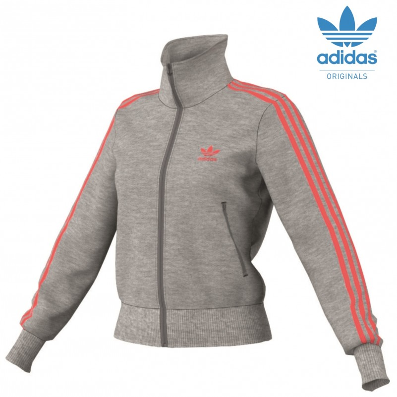 adidas originals firebird tt jacke women damen hellgrau neonorange mode damen jacken. Black Bedroom Furniture Sets. Home Design Ideas